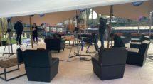 De 'studio' bij de kalkovens maandagmiddag